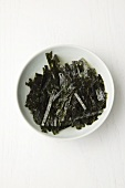 Gim; Dried Seaweed; On a White Plate