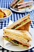 A club sandwich (chicken, lettuce, tomatoes and mayonnaise)