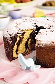 Marble cake dusted with icing sugar