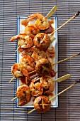 Yakitori (Japanese prawn kebabs)