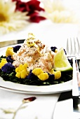 Prawn cocktail with coloured cauliflower florets and spinach