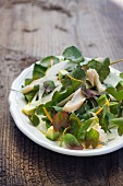 Sorrel salad with fennel, avocado and trout