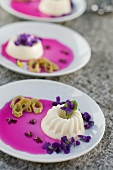 Panna cotta with violet syrup and Japanese knotweed