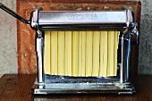 Fresh tagliatelle in a pasta machine