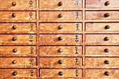 Lucky drawers in the Senso-Ji temple, Asakusa, Tokyo