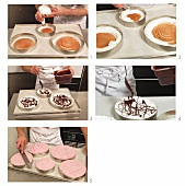 An ice cream cake being made with chocolate and raspberry cream