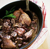 Spring chicken in a red wine sauce