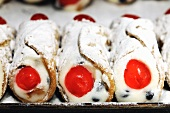 Sicilian cannoli in a bakery
