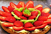 An Italian strawberry and kiwi tart