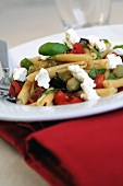 Pasta with aubergines, tomatoes and ricotta