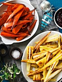 Roasted carrots and parsnips for Christmas dinner