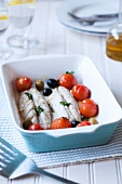 Mackerel fillets with tomatoes and olives