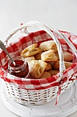 Butteries (Scottish bread) with jam