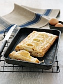 A rice and salmon strudel