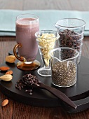 Ingredients and a Healthy Smoothie; Almond, Chia and Cacao
