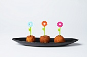 Flower Toothpicks in Fried Cheese Balls