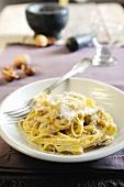Tagliatelle with creamy walnut sauce and pecorino cheese
