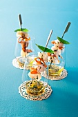 Scallop kebabs with pumpkin chips