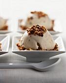 Yogurt ice cream with chopped nuts