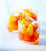 Citrus fruit soup with Campari