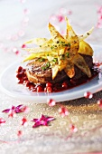 Tournedos with potato chips and cranberries for Christmas dinner