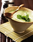Cream of courgette soup with coriander