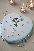 Heart Shaped Cake with Silver Stars and Balls