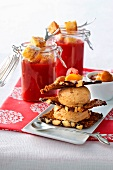 Morello cherry gazpacho and gingerbread mille feuilles