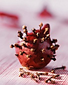 A red onion spiked with cloves