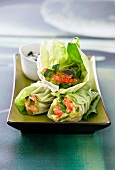 Lettuce rolls filled with crab meat