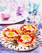 Quails egg and pepper tartlets