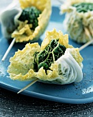 Cabbage parcels filled with goat's cheese