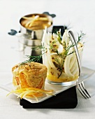 Hearty smoked fish pudding with fennel salad