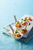 Monkfish spoon canapés