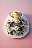 Sardine rolls filled with rice