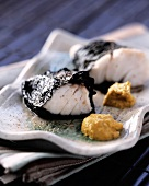 Fillet of haddock wrapped in seaweed