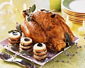 Roast capon with sage and truffles