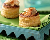 Vol-au-vents filled with seafood