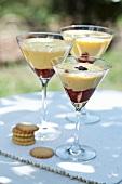 Three glasses of raspberry tiramisu