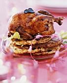 Roast quail on potato cakes (for Christmas dinner)