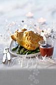 Pastete mit Wachtel und Gänseleber (weihnachtlich)