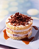 Tortino alla crema (layered cake with cream and grated chocolate)