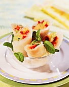 Rice paper rolls filled with fruit