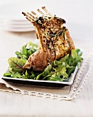 A rack of lamb with juniper berries and lemon sauce