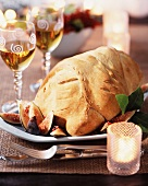 Broiler chicken wrapped in pastry for Christmas dinner