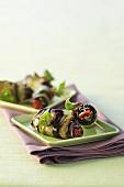 Aubergine rolls with pesto