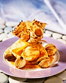 Pancake parcels with cockles