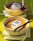 Pumpkin soup with coconut ice cream