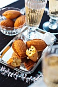 Madeleines with goose liver and champagne for Christmas dinner