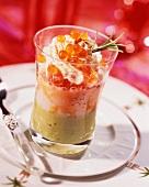 Scallop tartar with chum salmon caviar
